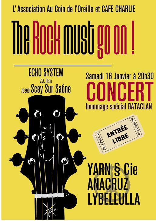 samedi 16 janvier 2016 : Au coin de l'oreille et café Charlie vous proposent un concert gratuit «hommage Bataclan»