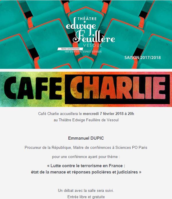 café Charlie du mercredi 7 février 2018 avec Emmanuel Dupic, Procureur de la République, Maitre de conférences à Sciences PO Paris